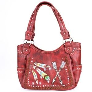 Red Western Feather & Arrow Conceal Carry Purse